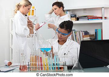 laboratorium, kvinnor, tre, vetenskap