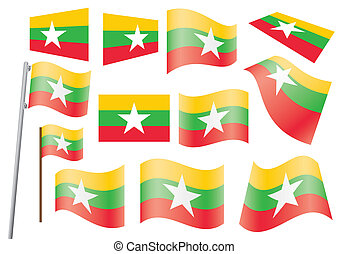 flag of Burma - set of flags of Burma vector illustration