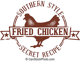 Southern Fried Chicken Stamp - Grunge style chicken stamp.