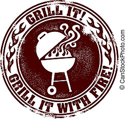 BBQ Grill Fun Stamp - Grill it, grill it with fire!