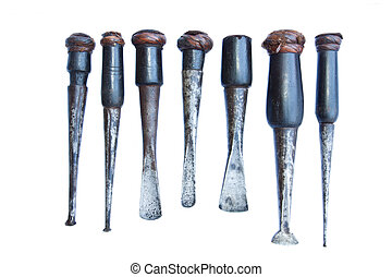group of old carpenter tool isolated white