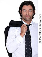 sonriente, hombre de negocios, el suyo, chaqueta, encima, el...