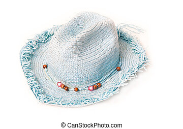blue cowboy straw hat isolated