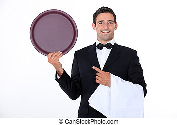Waiter with his tray