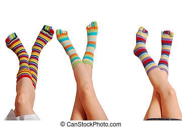 relajar, tres, bebé, Muchos, colores, calcetines