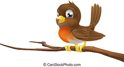 Cute Robin sitting on a tree branch - Drawing of a cute...