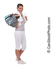 Young with sports bag
