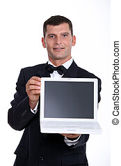 Man presenting laptop