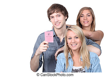 Young people with a French driving license