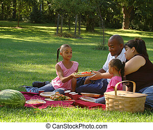 Family Picnic - Biracial family enjoying a picnic in the...
