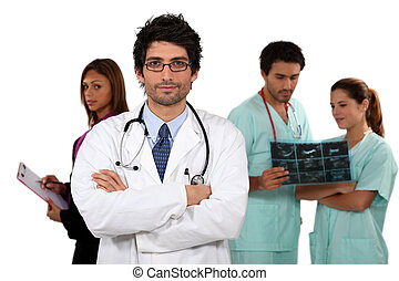 Doctor and his medical team