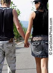 pareja, ambulante, mano