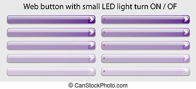 Web Button with small LED light turn ON - OF ease change spot color Purple