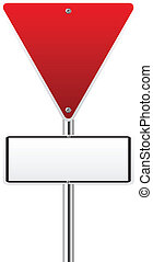 Blank upside down triangle red traffic sign on white