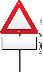 Blank triangle red traffic sign on white