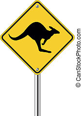 Kangaroo sign on traffic label