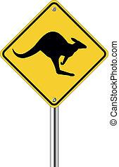 Kangaroo sign on traffic label