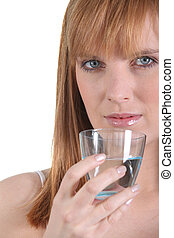 Woman trying to stay hydrated