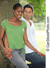 Man staring intently at his girlfriend