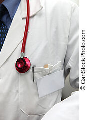 Cropped shot of an anonymous hospital doctor with a blank...