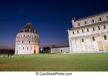 Baptistery in Pisa, night view of Miracles Square