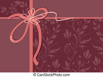 vector greeting card with ribbon and ornament - vector...