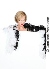 Woman with a feather boa