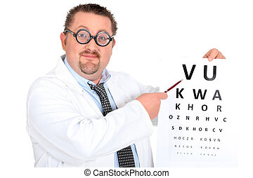 Comedy optician with an eyechart