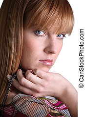 head shot of gorgeous woman with ginger hair
