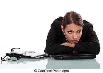 aburrido, mujer de negocios