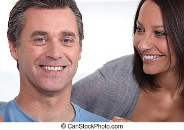 Close-up of couple on a white background