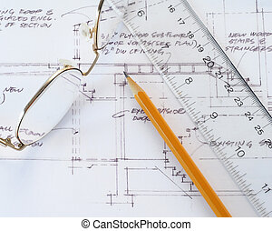 RENOVATION PLAN - blueprint,drawing,pencil, glasses,ruler