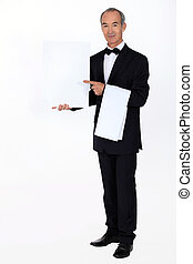 Waiter with a blank menu