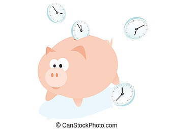 Piggybank - Abstract vector illustration of a piggybank for...