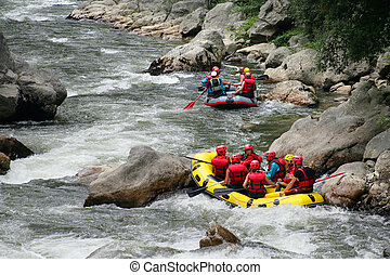 Rafting down a river
