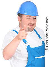 Tradesman pointing his finger