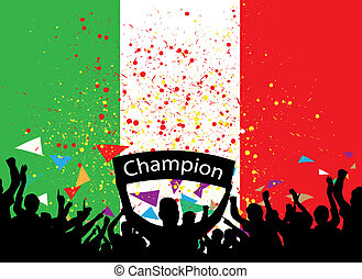 crowd cheer italy