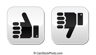 Like it Unlike buttons - Thumb up, don't like black icons on...