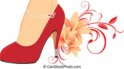 Elegant red female shoes with lilies. Vector illustration
