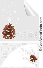 Pinecone with snowflakes. Backgrounds for design. Vector...