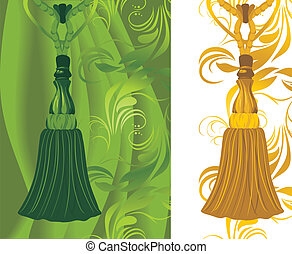 Green and golden tassel on the decorative background. Vector...