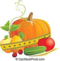 Vegetables and fruits with measuring tape. Vector...