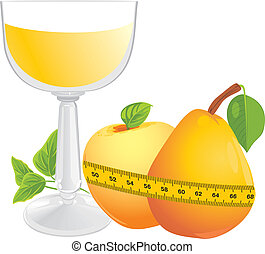 Juice, fruits and measuring tape