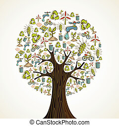 Go Green icons tree - Environmental conservation hand drawn...