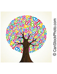 School education concept tree made with numbers Vector file...