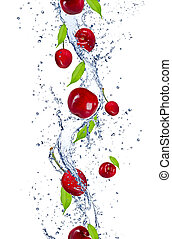 Fresh cherries falling in water splash, isolated on white...