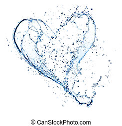 Heart symbol made of water splashes, isolated on white...