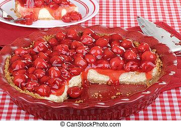 Sliced Cherry Cheesecake