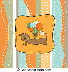 greeting card with long dog and balloons