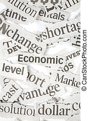 Newspaper Headlines close up for background